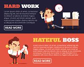 People hate their jobs. Vector flat banner illustration set