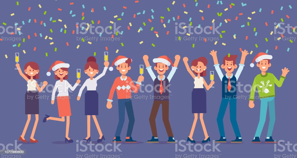 Alkohol Weihnachtsfeier.Menschen Haben Eine Weihnachtsfeier Sie Tanzen Spaß Haben Und Alkohol Auf Einer Party Stock Vektor Art Und Mehr Bilder Von Alkoholisches Getränk