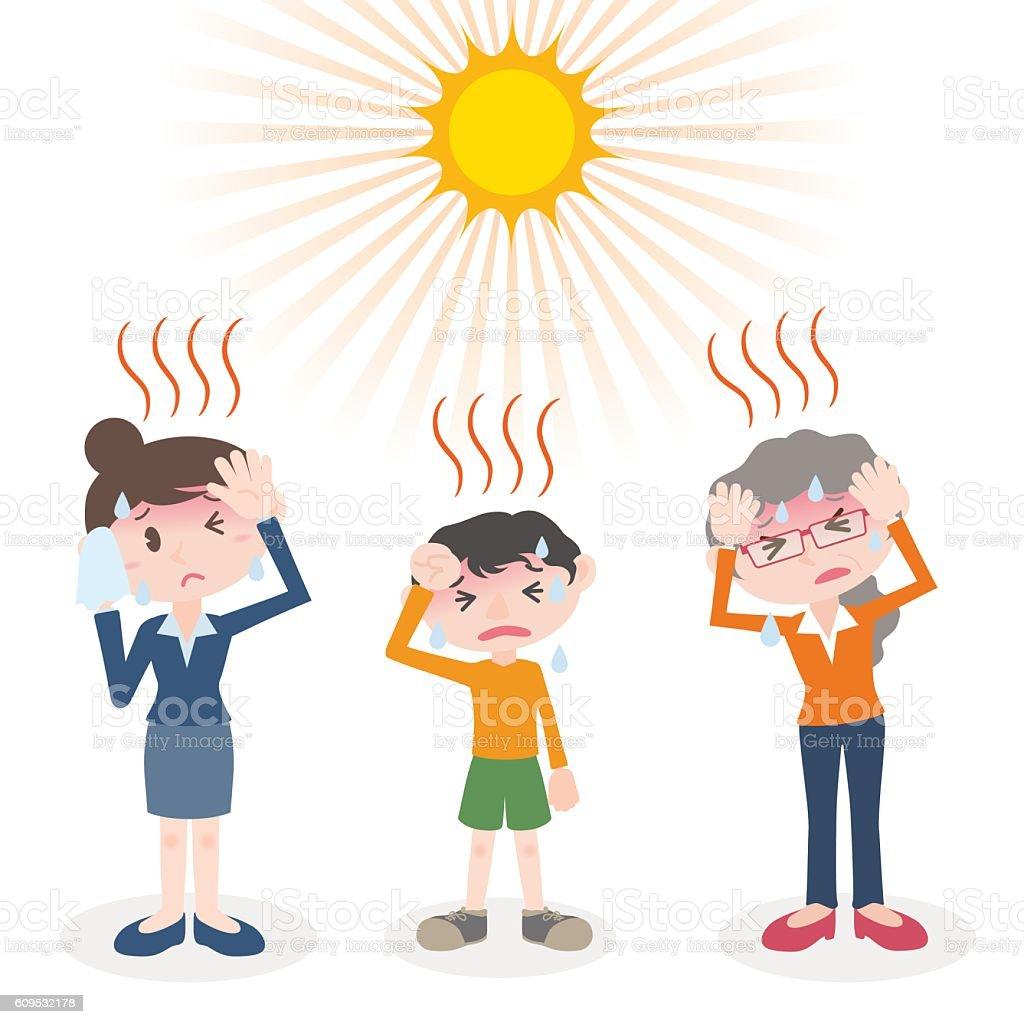 people have a heatstroke, image illustration vector art illustration