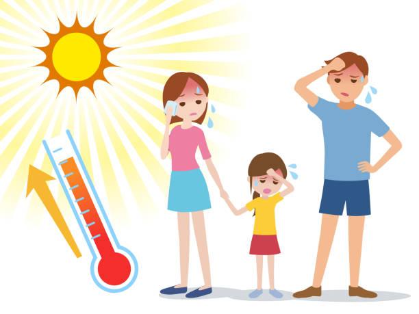 illustrations, cliparts, dessins animés et icônes de les gens ont un coup de chaleur, illustration de la notion - chaleur