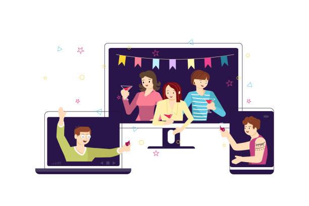 ilustraciones, imágenes clip art, dibujos animados e iconos de stock de la gente tiene fiesta de cumpleaños en línea - zoom meeting
