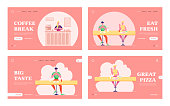 People Have Relaxing Meal Time in Fastfood Cafeteria Website Landing Page Set. Young Man and Woman Sitting at Fat Food Cafe Having Coffee Break Meal Web Page Banner. Cartoon Flat Vector Illustration
