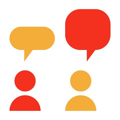 2 Personnes Davoir Un Dialogue Icône De Vecteur De Glyphe Plat Dernier Cri  Conversation Entre Deux Personnages Avec Bulles Vecteurs libres de droits  et plus d'images vectorielles de Affaires - iStock