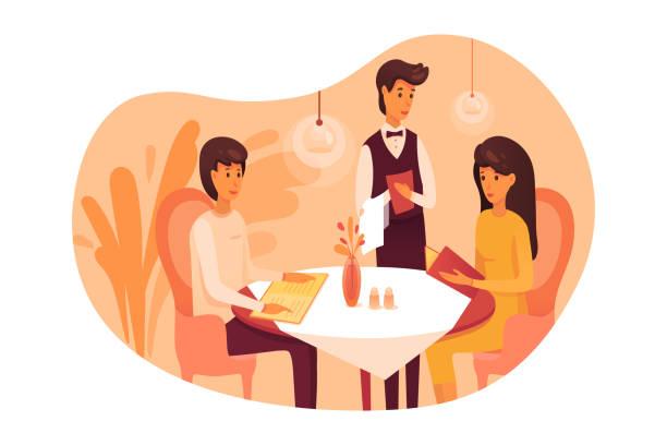 illustrazioni stock, clip art, cartoni animati e icone di tendenza di people having dinner at restaurant illustration isolated on white background - dinner couple restaurant
