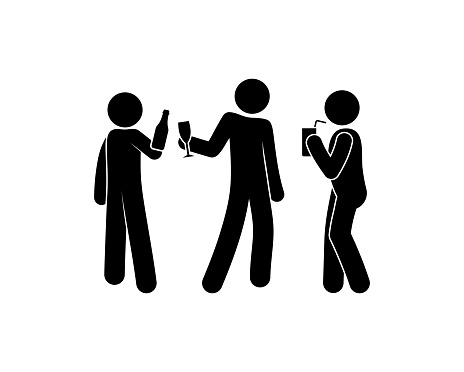 people having fun at a party, illustration drinking alcohol, stick figure man icon
