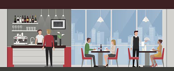 osób posiadających obiad w restauracji luksusowe - bar lokal gastronomiczny stock illustrations