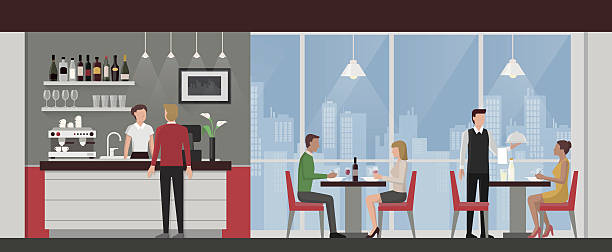 people having lunch in a luxury restaurant - restaurants stock illustrations, clip art, cartoons, & icons