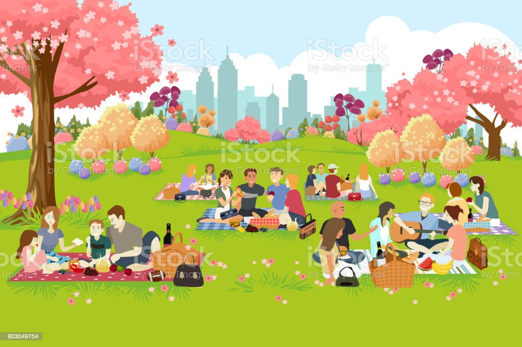 People Having Picnic at the Park During Spring vector art illustration