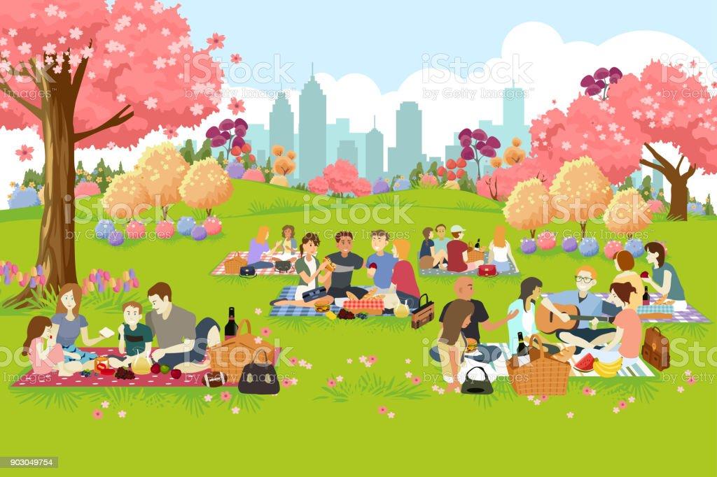 Pessoas fazendo piquenique no parque durante a primavera - ilustração de arte em vetor