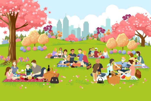 ilustraciones, imágenes clip art, dibujos animados e iconos de stock de personas con picnic en el parque en primavera - picnic