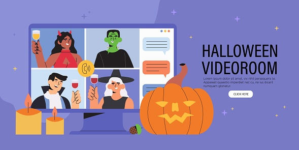 People having videocall celebrating Halloween at home. Concept of video conference call and online holiday party.