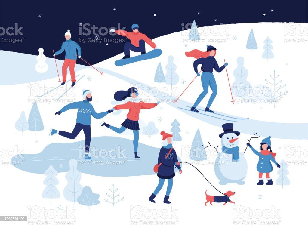 a22ec31958 People Having Winter Activities In Park Skiing Skating Snowboarding ...