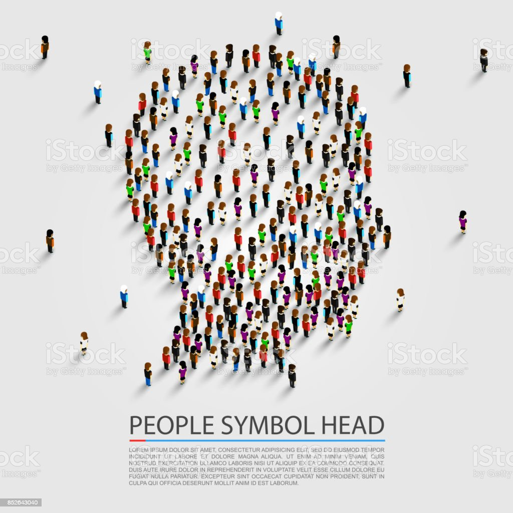 People head sign, Head group people. vector art illustration