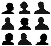 Silhouette of Human Head Faces front view