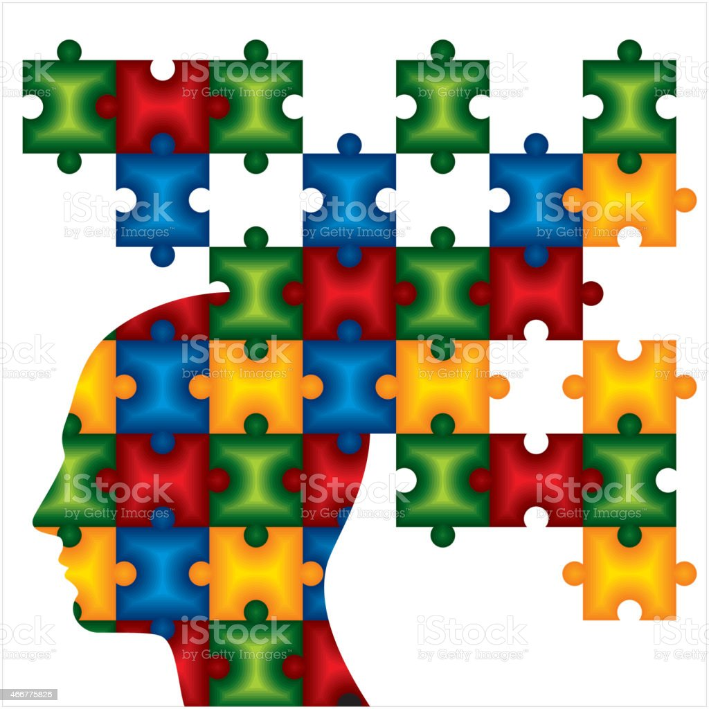 People head with puzzles for psychology concept. Vector - People head with puzzles for psychology concept. Vector illustration 2015 stock vector