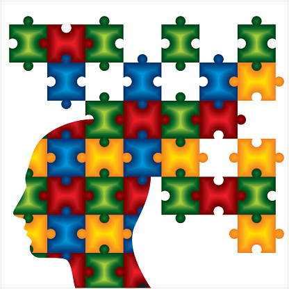 People Head With Puzzles For Psychology Concept Stock Illustration - Download Image Now