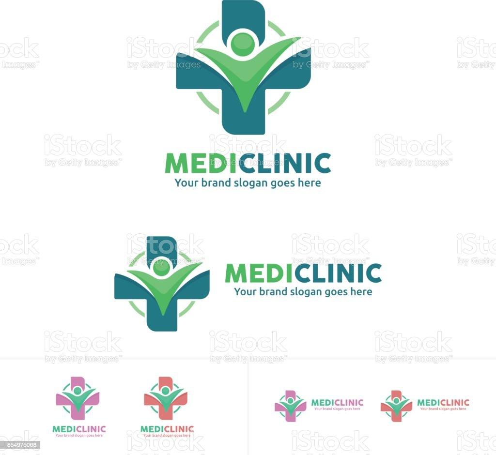 icono de salud, clínica médica emblema de la gente - ilustración de arte vectorial