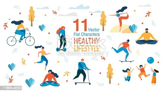 Healthy Lifestyle, Outdoor Activity, Fitness Exercises Trendy Vector Characters Set Isolated on White Background. Men and Woman Riding Bicycle, Running, Practicing Yoga, Playing with Kids Illustration