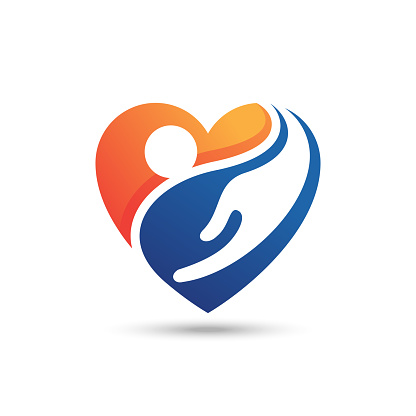 people heart hand care vector. potential for charity, healthcare symbol. gradient color style