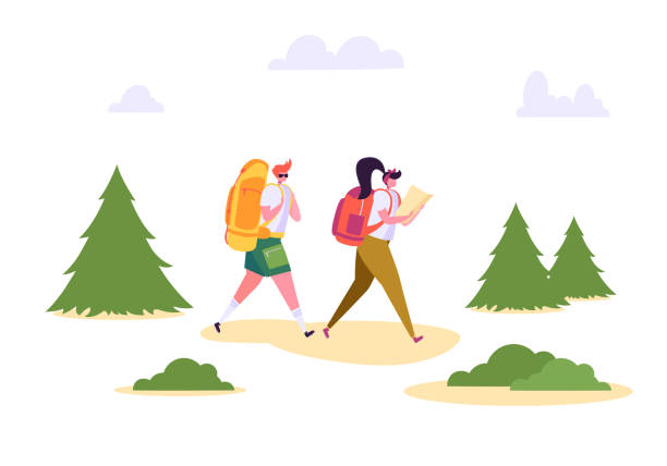 People Hiking Backpack Forest Nature Landscape. Man Woman Walk in Summer Park. Weekend Adventure Camping. Couple Character Adventure Vacation Flat Cartoon Vector Illustration People Hiking Backpack Forest Nature Landscape. Man Woman Walk in Summer Park. Weekend Adventure Camping. Couple Character Adventure Vacation Flat Cartoon Vector Illustration hiking stock illustrations