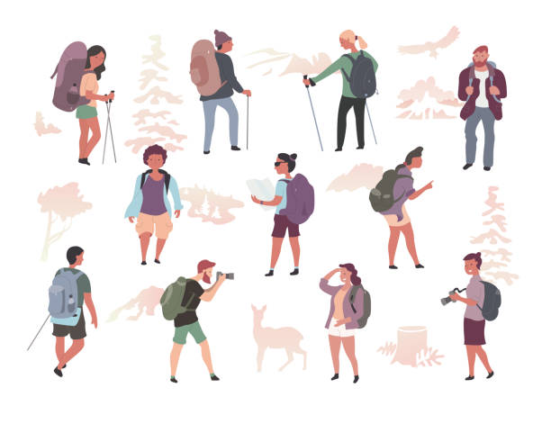 People Hiking Characters Isolated Various active people with backpacks hiking, exploring wild nature, trekking. Male & female characters isolated flat illustration hiking stock illustrations