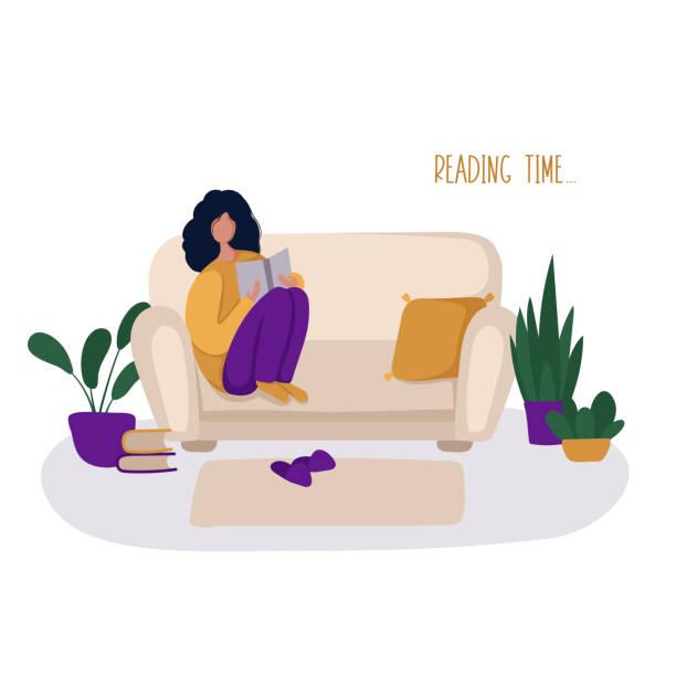 stockillustraties, clipart, cartoons en iconen met people hobby concept - woman home magazine