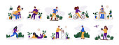 People - man and woman and their hobby or daily activity, free time concept - music, gardening, game plaing, run, golf. Set of cute characters, flat style, vector set