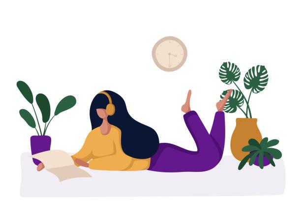 stockillustraties, clipart, cartoons en iconen met hobby concept mensen - woman home magazine