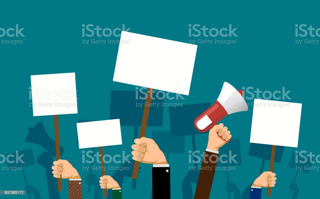 People hold banners and posters in their hands vector art illustration
