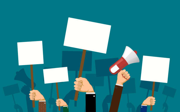 ilustrações de stock, clip art, desenhos animados e ícones de people hold banners and posters in their hands - democracy illustration