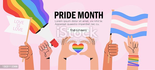 istock People hold megaphone and flags with lgbt rainbow and transgender flag during pride month celebration against violence, descrimination, human rights violation. Equality and self-affirmarmation. 1305113366