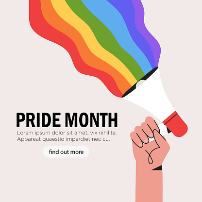 People hold megaphone or loudspeaker with lgbt rainbow during pride month celebration against violence, descrimination, human rights violation. Lgbt greeting card, square banner or poster.