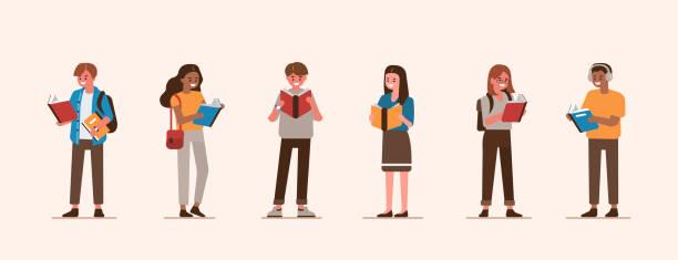 stockillustraties, clipart, cartoons en iconen met mensen die boeken houden - woman home magazine