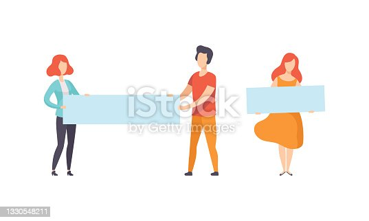 istock People Holding Empty Blank Banners, Man and Woman Standing with Blank Posters, Flat Vector Illustration 1330548211