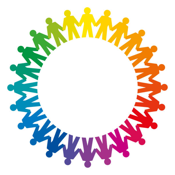 People holding hands, forming a big rainbow circle vector art illustration