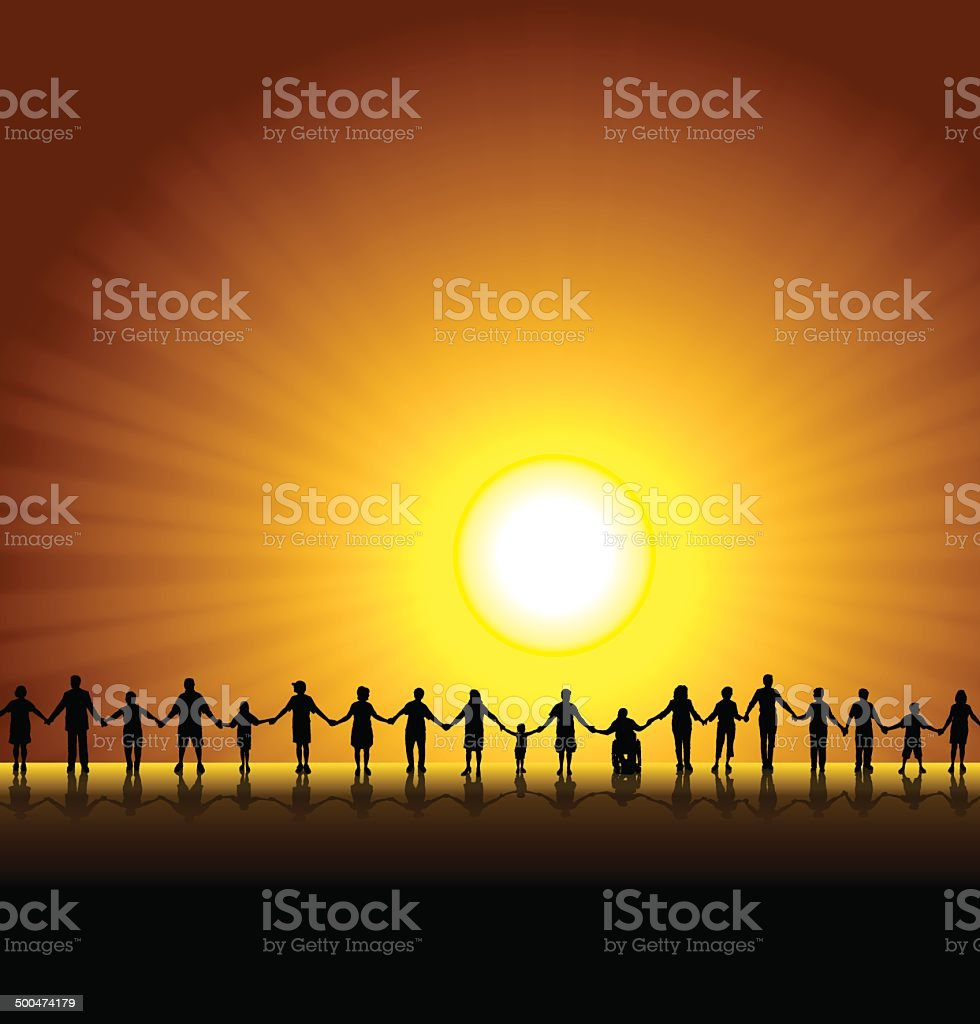 People Holding Hands - Healthy Lifestyle Background vector art illustration