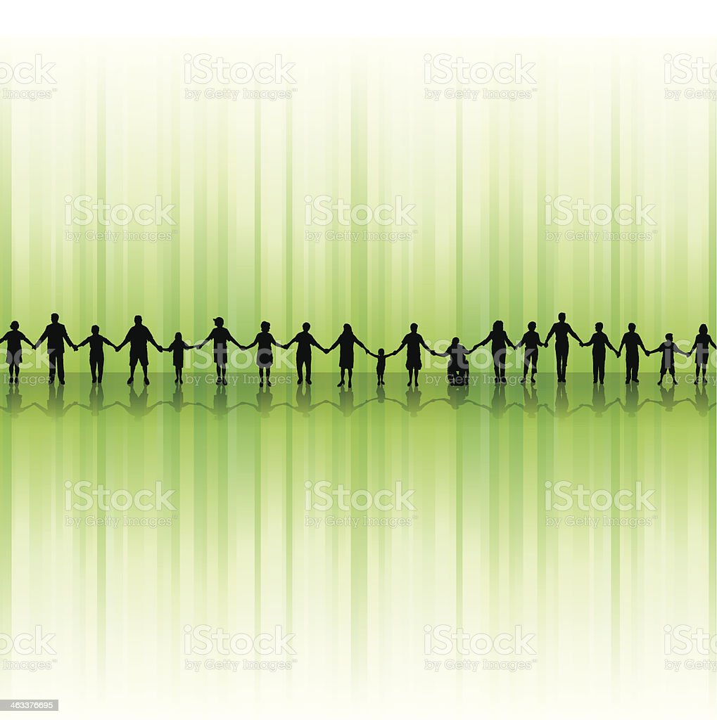 People Holding Hands - United Community Background vector art illustration