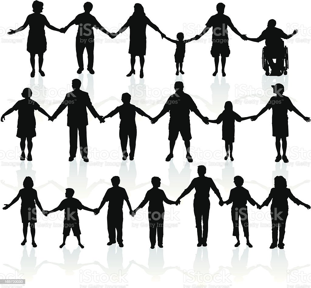People Holding Hands - United We Stand vector art illustration