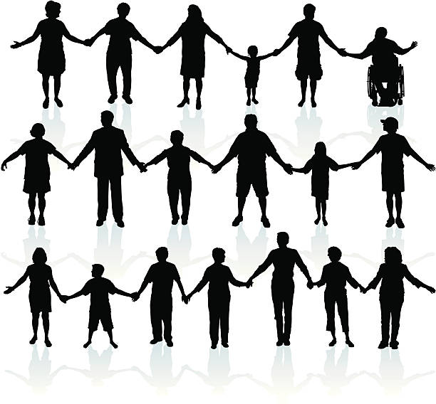 """People Holding Hands - United We Stand People holding hands. Tight graphic silhouettes of a line of people holding hands. Place them end to end for a long line. Step and repeat or mix and match. make the line as long as you want. Check out my """"People Black and White Ills."""" light box for more. people in a row stock illustrations"""