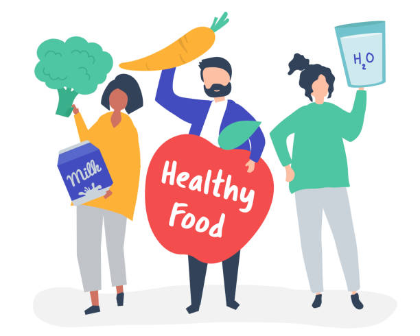 People holding healthy food icons vector art illustration