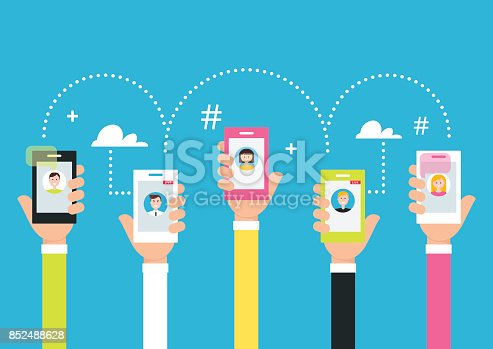 Attracting Followers and Creating Internet Community Using Smart Phone Technology and Live Broadcasting. Vector Illustration.