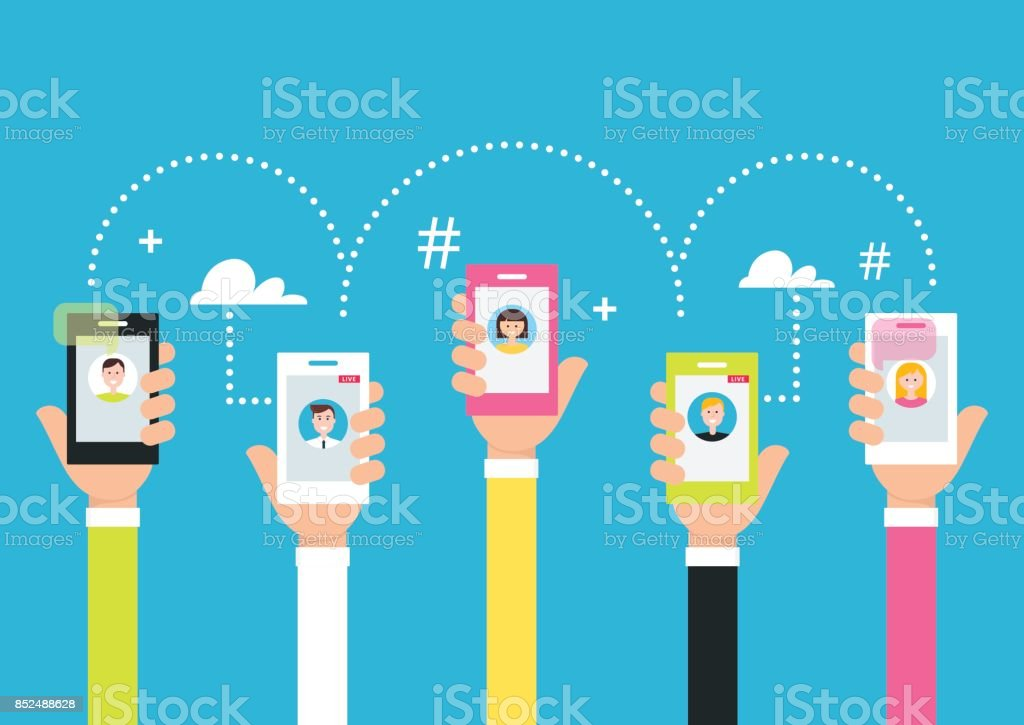 People Holding Phones in Hands. Attracting Followers and Creating Internet Community Using Smart Phone Technology and Live Broadcasting. Vector Illustration vector art illustration