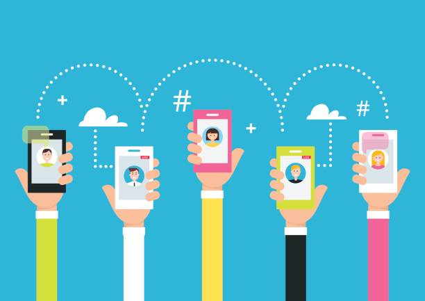 people holding phones in hands. attracting followers and creating internet community using smart phone technology and live broadcasting. vector illustration - whatsapp stock illustrations, clip art, cartoons, & icons