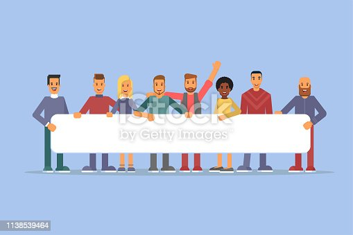 People holding placard flat vector illustrations. Cartoon characters with empty banner mockups. Young men and women have blank poster in hands. Teamwork. Demonstration, protest action isolated clipart