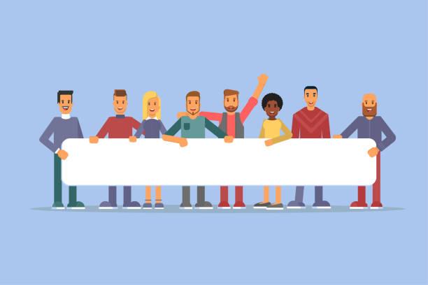 stockillustraties, clipart, cartoons en iconen met mensen houden plakkaat platte vectorillustraties - teamevenement