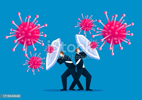 istock People holding shields and wearing protective masks together to fight the new coronal pneumonia virus covid-19 1213440440