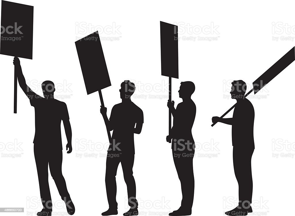 People Holding Signs Silhouettes vector art illustration