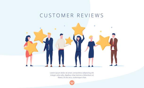 Menschen, die Sterne halten. Kundenbewertungen Konzept Illustration, perfekt für Web-Design, Banner – Vektorgrafik