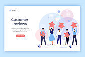 People holding stars. Customer reviews concept illustration perfect for web design, banner, mobile app, landing page, vector flat design