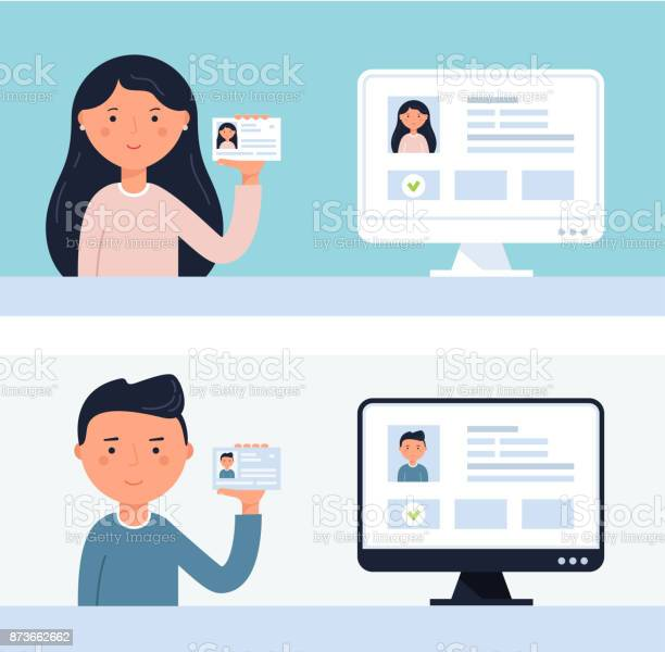 People holding up id cards account verification vector illustration vector id873662662?b=1&k=6&m=873662662&s=612x612&h=zsgkai7vcb3lxa8mox utnhk3g3limvoqy7xvlanxds=